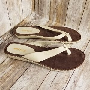 Women's Leather Sandals Shoes Size 11 Ivory